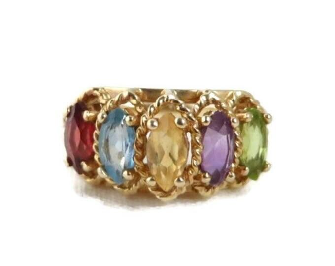 Vintage Multi Stone 10K Gold Ring, Amethyst, Citrine, Garnet, Peridot, Topaz Ring, Size 6