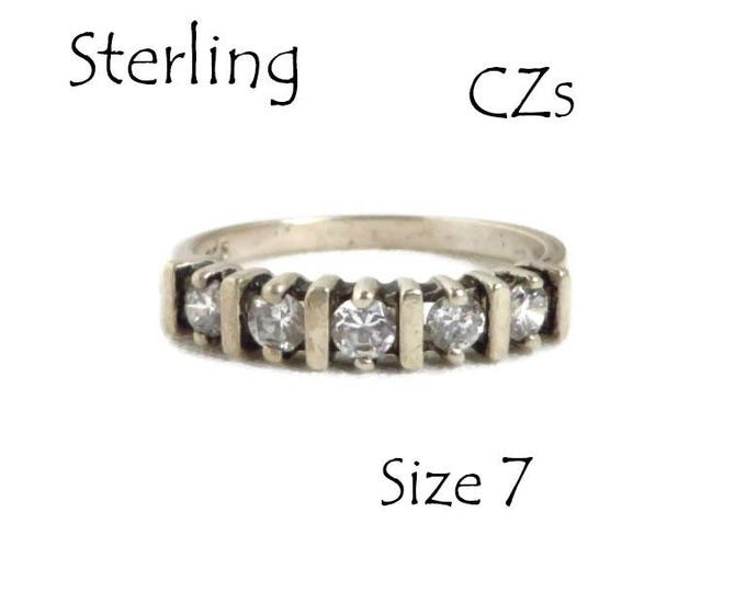 Sterling Silver CZ Wedding Ring, Vintage Engagement Ring, Five Stone Band, Anniversary Gift, Perfect Christmas Gift, Gift Box, FREE SHIPPING