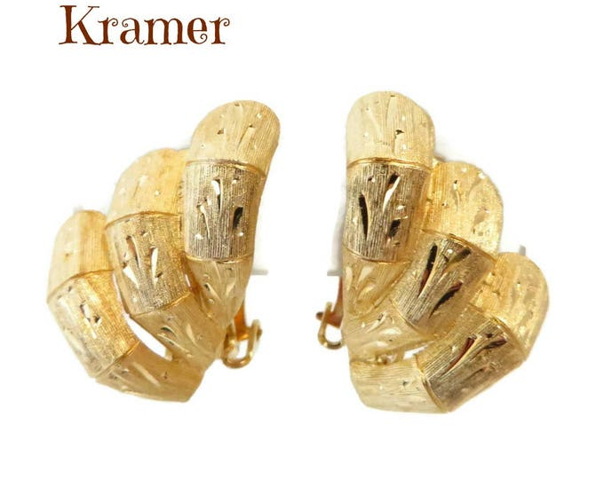 Kramer Diamond-Etched Earrings, Gold Tone Clip-on Earrings, Signed Designer Jewelry, Valentine's Day Gift