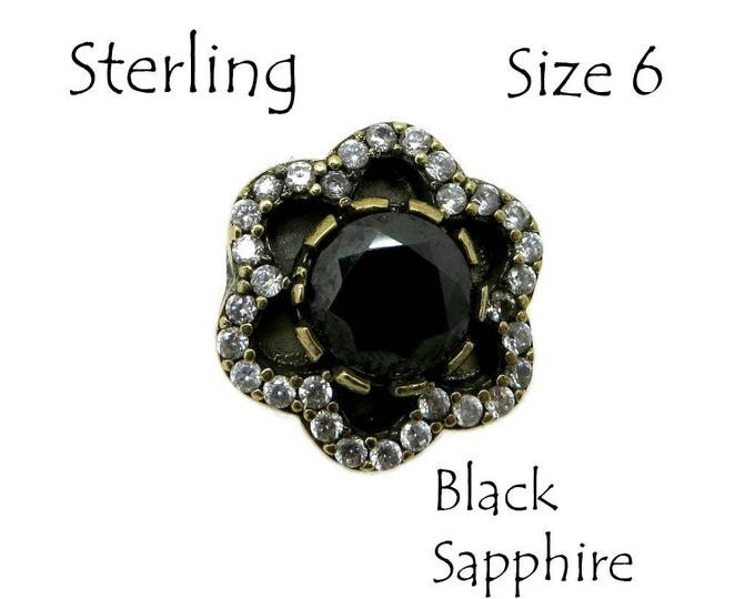 Black Sapphire Silver Ring | Vintage Sterling Silver Sapphire & CZ Ring | Two Tone Silver Anniversary Ring | Size 6