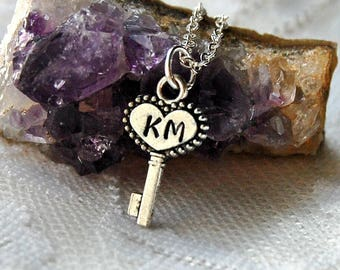 Key Necklace Key Jewelry Initial Necklace Personalized Jewelry Initial Necklace Initial Jewelry Mothers Day Gift For Her Bridesmaid Necklace