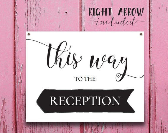 This Way to Reception Sign INSTANT DOWNLOAD