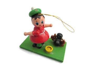 Vintage Little Miss Muffet Nursery Rhyme Christmas Ornament