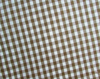 3 Yards of Brown and White Gingham Fabric - 34 Inches Wide