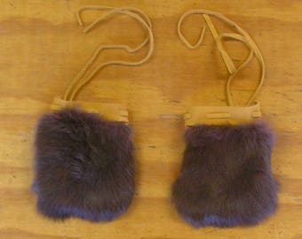 2 Green/Purple Rabbit Fur & Gold Color Deer Leather Bags