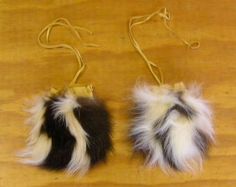 2 Skunk Fur & Gold Color Deer Leather Bags