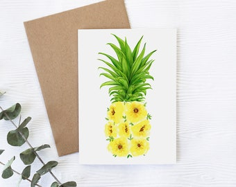 Card with pineapple and flowers, greeting card with pineapple, illustration by Joannie Houle