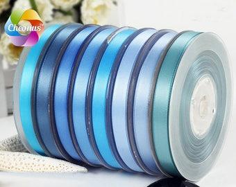 "Double faced Satin ribbon, Light blue III,  2"", 1-1/2"", 1"", 7/8"", 3/4"",5/8"", 3/8"", 1/4"""