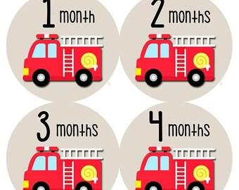 Monthly Baby Sticker Baby Boy | Baby Month Stickers | Baby Milestone Sticker | 12 Month Stickers | Photo Prop | Fire Engine Truck 1164