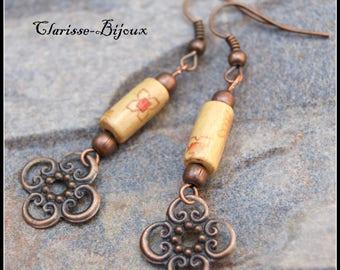Wood earrings filigree earrings flower copper tube earrings