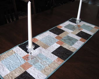 Modern Quilted Table Runner - aqua, salmon, brown, black, cream, white table runner