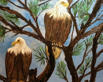 Eagles on the Lookout an Original Oil in full color on  24x36x1 canvas