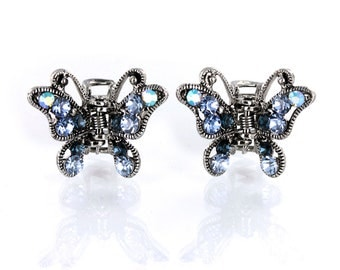 Hand Made Hair Jewelry Butterfly Blue Jaws swarovski crystal Petals Set Of 2(SO5198-bl)