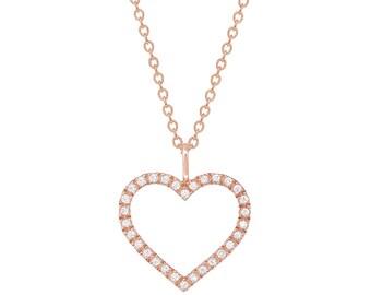 Women 14K Rose Gold 0.10 cttw Diamond Heart Pendant Necklace(GDP516NPZ)