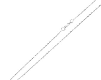 Men Women 14K White Gold Chain 0.8mm Singapore Chain Necklace(DLN131-171W)