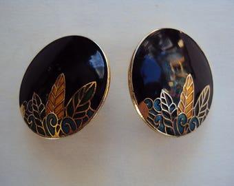Black Cloissone enamel disc earrings with leafy floral design