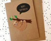 Sloth Birthday Card - Felt Sloth Card - Cute Felt Card - Kawaii Smiley Sloth - Sloth Greetings Card