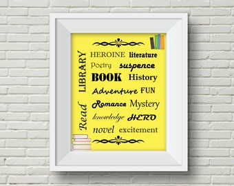 Library Wall Hanging,Library Decoration,Book Wall Hanging,Reading Poster,Reading Wall Hanging,Back to School,Reading Wall Art,Book Wall Art