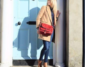 SALE Leather Bag, Red Leather Handbag, Leather Bag, Vintage Leather Bag, Distressed Leather, Leather Messenger, Red Bag, Red Handbag