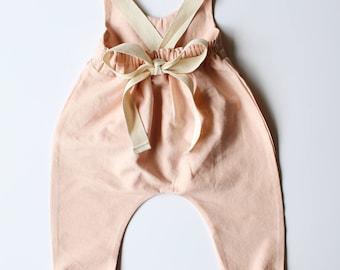 Linen & Lace jumpsuit-linen romper/jumpsuit- peach pink jumpsuit/romper- lace jumpsuit/romper- toddler romper / jumpsuit - girls romper
