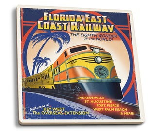 Key West, FL - East Coast Railway - LP Artwork (Set of 4 Ceramic Coasters)