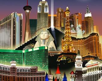 Las Vegas, Nevada - Las Vegas at Night - Lantern Press Artwork (Art Print - Multiple Sizes Available)