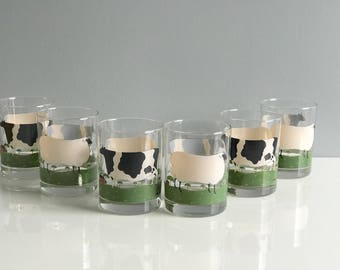 Vintage Cow and Sheep Glasses, Warren Kimble Set of 6