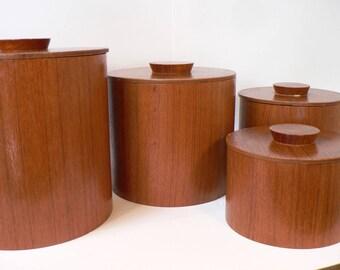 Mid Century Canister set, 1960's Teak canister set, Mid Century modern kitchen, Danish modern design,