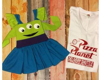 Toy Story alien Claw pizza planet Disney Inspired Peekaboo Dress or short set