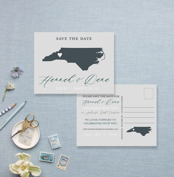 Mid Century Romance Save The Date Cards: Save The Date State Themed Post Cards Custom Save The Dates