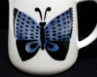 Butterfly Pitcher Arabia Finland Kaj Franck Indigo Blue & Black on White Mid Century Modern Design Scandinavian Perhonen Vintage Kitchen