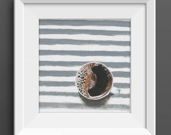 Coffee Mug Art Print, Coffee Print, coffee painting, coffee decor, coffee kitchen decor, coffee lovers gifts for coffee lovers, coffee nook