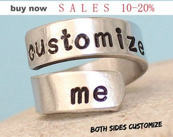 Customized / Personalized Ring - Adjustable aluminum Ring.. Best Gift..  Customized on both sides..(inside & outside)..