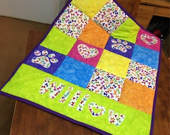 Baby quilted patchwork blanket, baby shower gift, pet blanket, personalised patchwork quilt, dog bed blanket, lap quilt throw, baby play mat