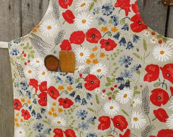 Womens Aprons Cooking Apron Linen Apron Kitchen Apron Poppy Apron Utility Apron With Pockets Meadow Apron Christmas Gift For Mom Mother Day