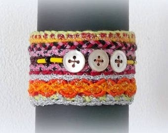 textile jewelry / ethnic bracelet / cuff /galons and vintage mother-of-Pearl buttons