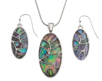 Tide Jewellery Paua Shell Oval Curved Segment Pendant & Earrings Gift Boxed