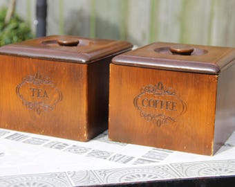 Vintage Wooden Tea & Coffee Canister Set with Removeable Plastic Inserts/Vintage Kitchen/Boho Kitchen/Farmhouse/Wood Canister