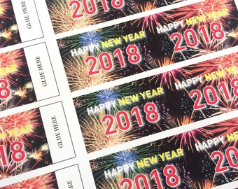 DIGITAL DOWNLOAD ONLY New Year 2018 Party Poppers, Sheet of 20 New Year Party Decoration