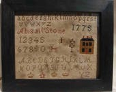Primitive cross stitch, sampler chart/pattern,primitive needlework, schoolgirl sampler, early American , Abigail Stone