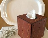Redware stenciled tissue box, paper mache, farmhouse decor, primitive folk art, bathroom, bedroom, living room decor