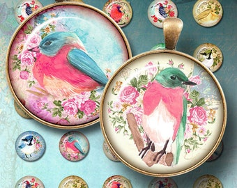 Birds digital collage sheet, watercolor birds, 1 Inch Circles - Round Images - Bottle cap Images - Magnet - Button - Pin - Jewelry Supplies