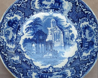 Antique Blue and White Dutch Bowl, Petrus Regout and Co, Maastricht. Abbey Scene, Made in Holland. 19th C.