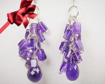 Amethyst earrings, Purple earrings, Amethyst drop earrings, Purple Cluster earrings, Purple Jewelry, Purple crystal jewelry,Crystal earrings
