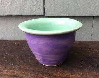 Purple and Aqua Ikebana Vase with Pin Frog