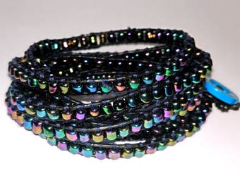 Chan Luu style, boho multi coloured wrap bracelet. Metallic rainbow seed bead cuff bracelet. Colourful and quirky beaded bracelet