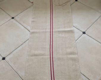 NS1531 Red Stripe Twill Natural Sandstone Vintage Linen Grainsack Fabric Striped Sewing Projects Upholstery Bath Mat or Laundry Bag