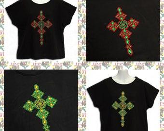 ETHIOPIAN CROSS[drs]Women's Dolman sleeve T-Shirts