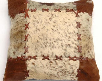 Natural Cowhide Luxurious Patchwork Hairon Cushion/pillow Cover (15''x 15'')a202