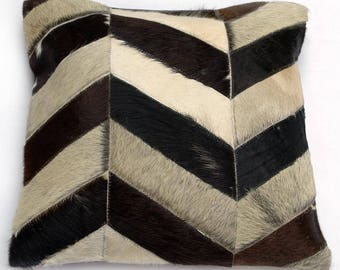 Natural Cowhide Luxurious Patchwork Hairon Cushion/pillow Cover (15''x 15'')a244
